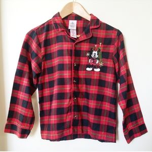 Disney Store Mickey Mouse Red flannel PJ Top